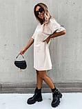 Базовое короткое  платье Размер: S-М и М-L  Цвет -Белый, чёрный, беж, фото 6