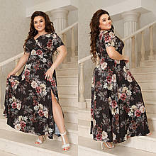 Платье макси с разрезом Размер: 44-46, 48-50, 52-54, 56-58 Цвета: цветочный принт: синий, беж, пудра, чёрный