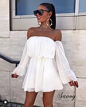 Платье женское короткой  Цвет : беж, белый , черный, розовый , голубой
