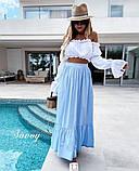 Юбка каттоновая женская длинная Цвет: беж, голубой, фото 4