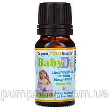 Вітамін D3 для дітей у краплях California Gold Nutrition Vitamin D3 400UI 10 мл (300 порц.), фото 2