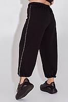 Женские трикотажные штаны-кюлоты с лампасами надписи черный