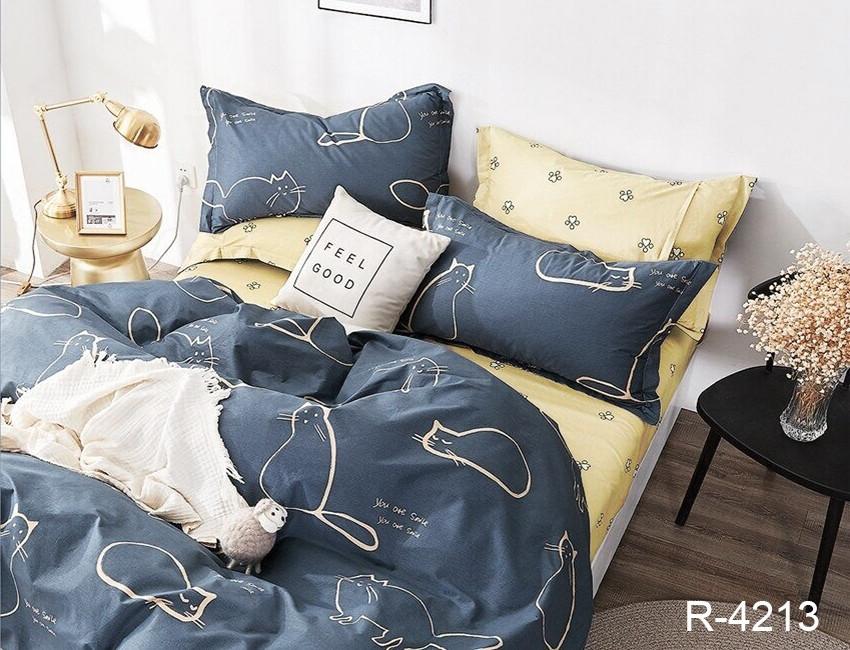 Сімейний комплект постільної білизни з малюнком кішок з ранфорса з компаньйоном R4213