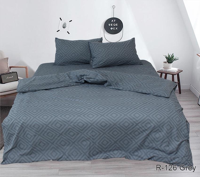 Евро комплект постельного белья ранфорс R126Grey