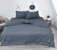 Евро комплект постельного белья ранфорс R126Grey, фото 1
