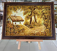 Картина с янтаря, пейзаж, багет, 30х40