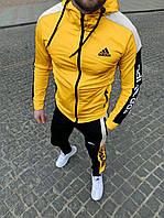 ХИТ ВЕСНЫ. Спортивный мужской костюм Adidas (штаны+олимпийка) желтого цвета.95% хлопок.Сезон Весна-Осень