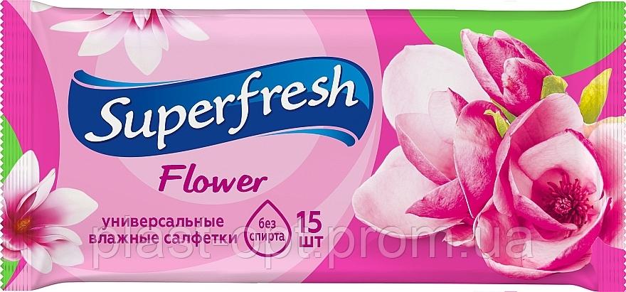"""Вологі серветки """"Superfresh"""" flower 15шт"""