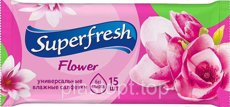 """Вологі серветки """"Superfresh"""" flower 15шт, фото 2"""