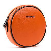 Яркая оранжевая женская сумка-клатч из натуральной кожи 18*18*7см  ALEX RAI (1-02 39032-9 orange)