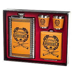Набор подарочный фляга Lefard Лучший охотник 250 мл +стопки+портсигар 18112-004