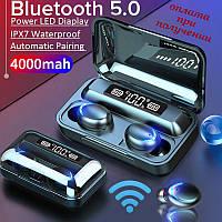 Беспроводные вакуумные Bluetooth наушники СТЕРЕО гарнитура TWS F9 PRO с LED зарядным боксом + Power Bank (2)
