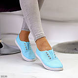 Комфортні практичні блакитні спортивні жіночі мокасини бавовна коттон 38-24см, фото 6