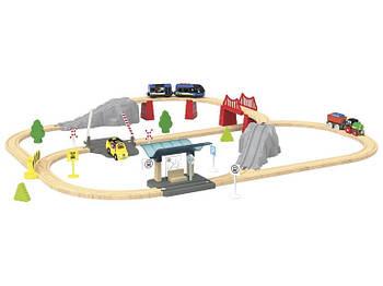 Электрическая детская железная дорога деревянная PLAYTIVE JUNIOR 4,4 метра 60 элементов Германия