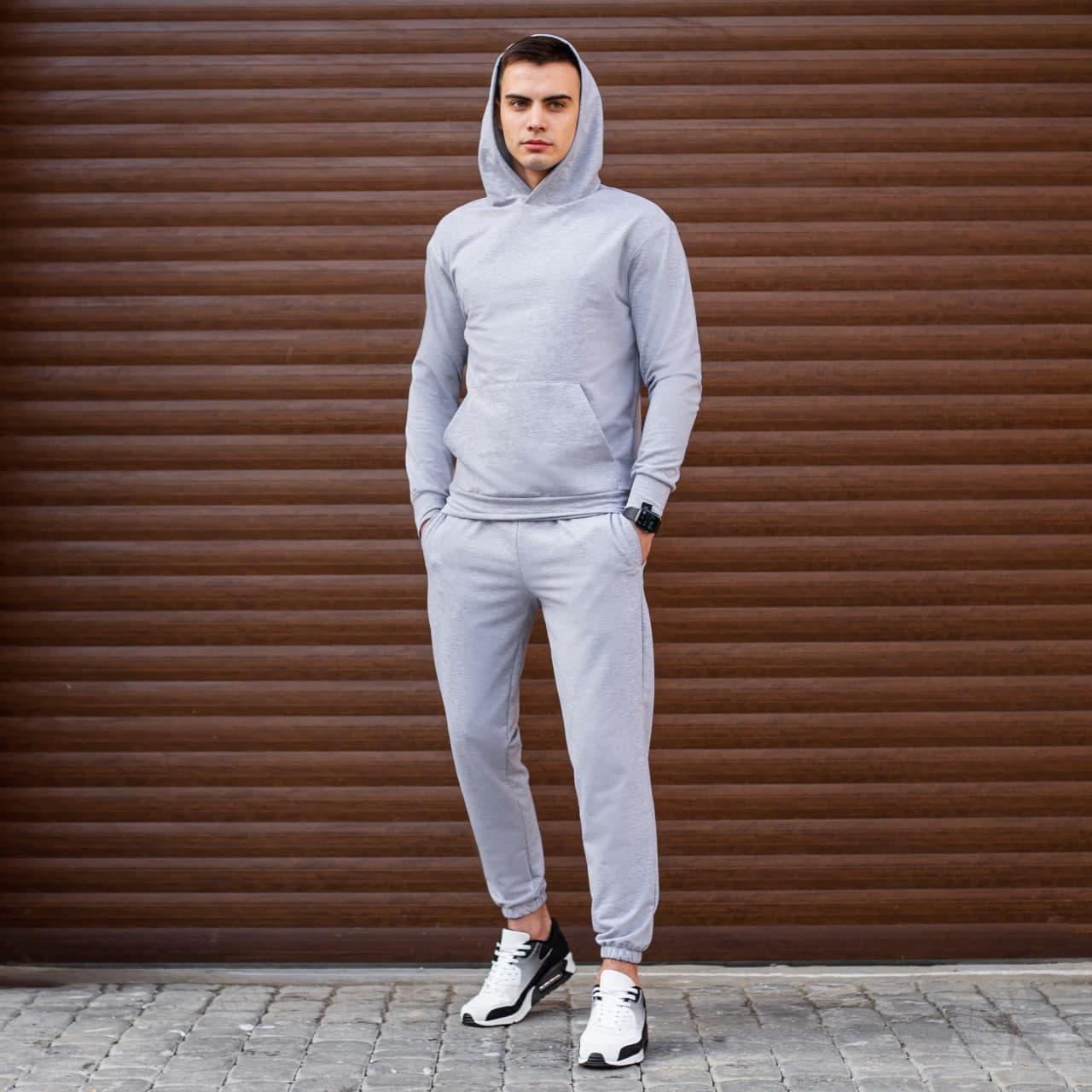 """Чоловіча кофта-худі Pobedov """"97"""" сірого кольору"""