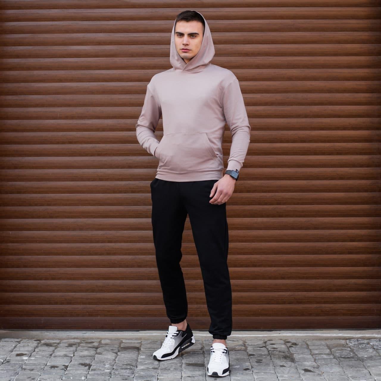 "Мужская кофта-худи Pobedov ""97"" темно-бежевого цвета"