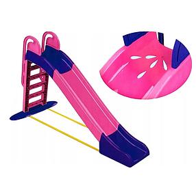 """Детская пластиковая фиолетово-розовая горка для улицыТМ """"Doloni"""", размер 1140x240x243см"""