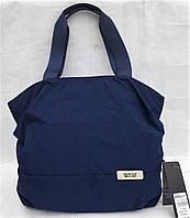 Сумка женская тканевая на плечо синяя большая легкая на змейке один отдел и карман снаружи Dolly 091, фото 1