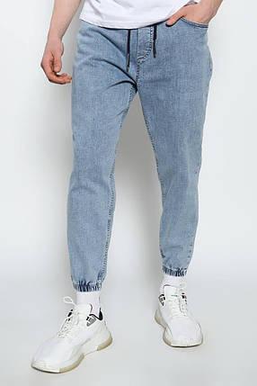 Мужские зауженные джинсы-джоггеры голубого цвета, размеры L, XL, фото 2