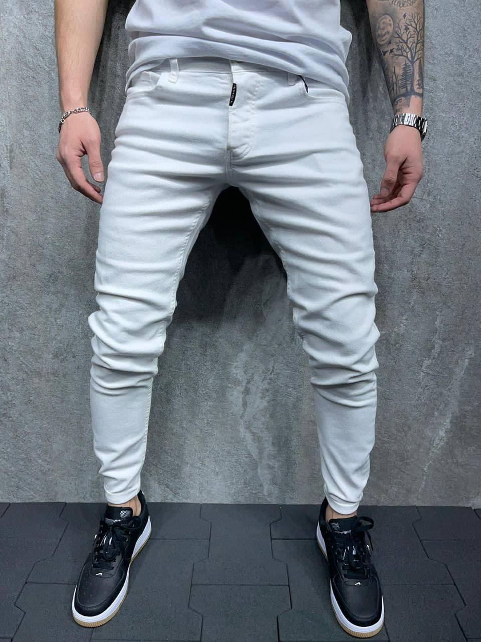 Мужские зауженные джинсы белого цвета