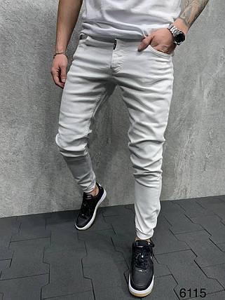Мужские зауженные джинсы белого цвета, фото 2