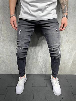 Чоловічі завужені джинси темно-сірого кольору з потертостями, фото 2