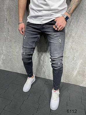 Мужские зауженные джинсы темно-серого цвета с потертостями, фото 2