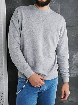 Світшот чоловічий oversize сірого кольору, фото 2
