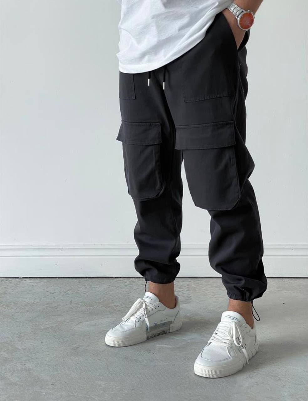 Мужские прямые джинсы-карго черного цвета