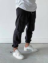 Мужские прямые джинсы-карго черного цвета, фото 3