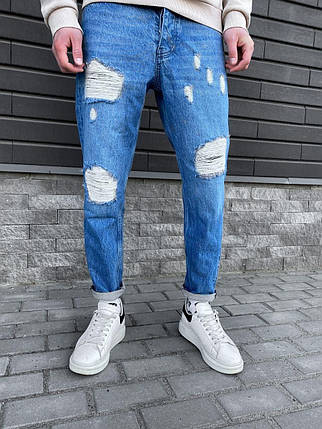 Чоловічі завужені джинси синього кольору з латками, фото 2