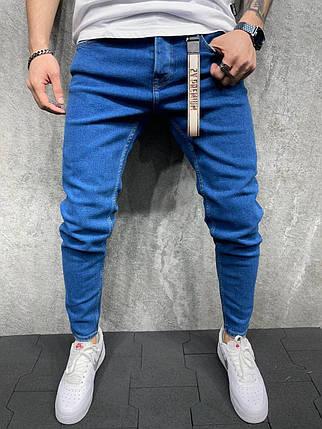 Мужские зауженные джинсы синего цвета, фото 2