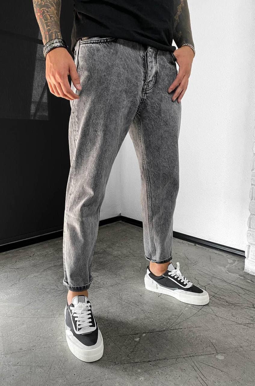 Мужские джинсы прямые МОМ темно-серого цвета