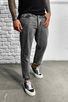 Мужские джинсы прямые МОМ темно-серого цвета, фото 2