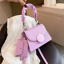 Женская сумка 2в1, экокожа PU (сиреневый)