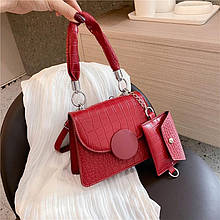 Женская сумка 2в1, экокожа PU (бордо)