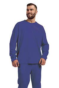 Лонгслив мужской Oversize хлопок тёмно-синий M-XL