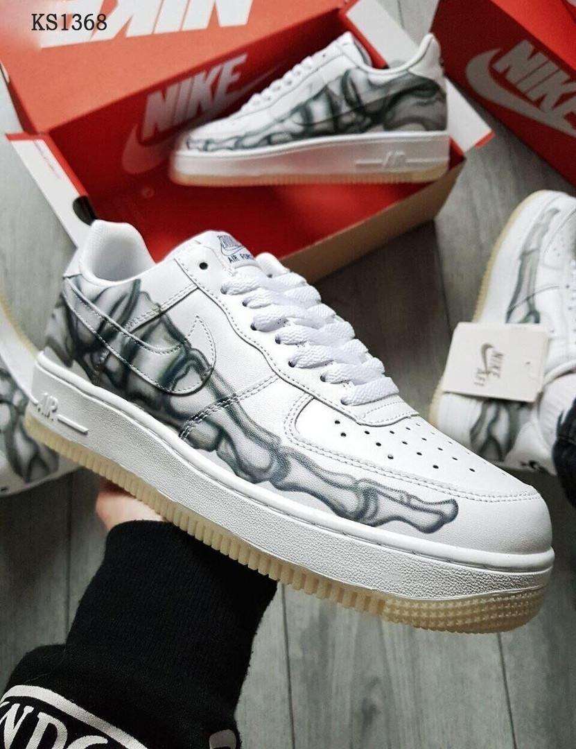 Белые низкие мужские кроссовки Nike Air Force Low Skeleton Найк рефлективные / кожаные (ТОП реплика ААА+)