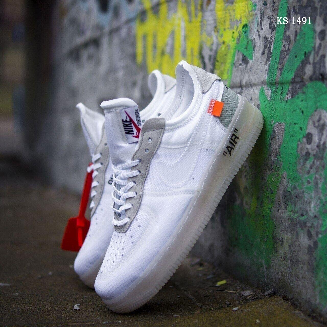 Текстильные мужские кроссовки Nike Air Force, белые / низкие Найк аир форс (ТОП реплика ААА+)
