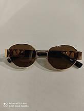 Очки Солнцезащитные Модные Стильные 2021 овальные очки коричневые с золотистой оправой