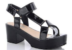 Зручні стильні босоніжки на високій підошві, Чорний, фото 2