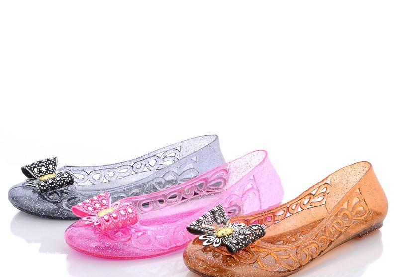 Стильные прозрачные туфли балетки с бантиком