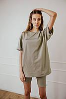 Футболка Comfort женская с рефлективным принтом оливковая
