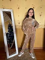 Дитячий велюровий підлітковий спортивний костюм з капюшоном, фото 1