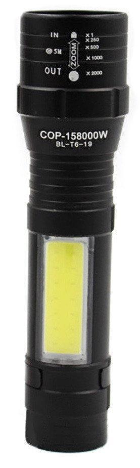 УЦЕНКА! Фонарик портативный аккумуляторный с креплением BL-Т6-19 с USB 5384, черный