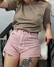 Женские джинсовые шорты розовые