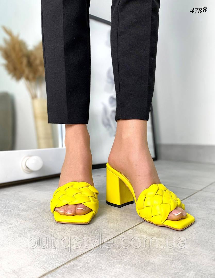 36,37,39,40 размер Женские плетеные желтые сабо натуральная кожа