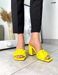 39,40 размер Женские плетеные желтые сабо натуральная кожа