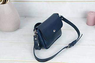 """Жіноча шкіряна сумка """"макарунами міні"""", Шкіра Італійський краст, колір Синій, фото 2"""