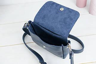 """Жіноча шкіряна сумка """"макарунами міні"""", Шкіра Італійський краст, колір Синій, фото 3"""